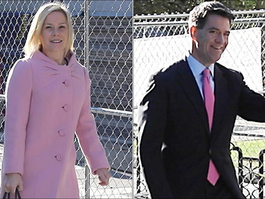 Bridget Anne Kelly and Bill Baroni outside federal court in Newark on Sept. 14, 2016.