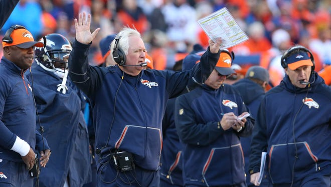 Jan. 17, 2016; Denver; Denver Broncos defensive coordinator Wade Phillips coaches from the sidelines against the Pittsburgh Steelers during the second quarter of the AFC divisional round playoff game at Sports Authority Field at Mile High.