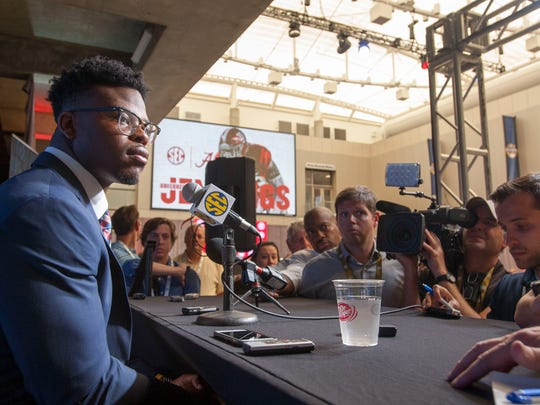 Alabama running back Damien Harris talks to the press during SEC Football Media Days Wednesday, July 18, 2018, in Atlanta, Ga.