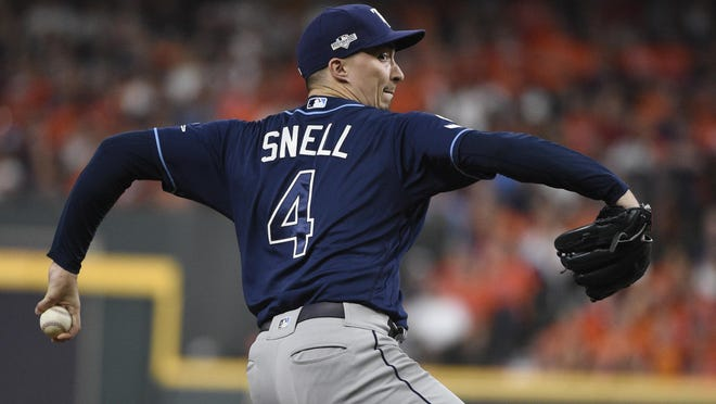 Tampa Bay Rays starting pitcher Blake Snell delivers to a Houston Astros batter during the first inning of Game 2 of a baseball American League Division Series in Houston, Saturday, Oct. 5, 2019.