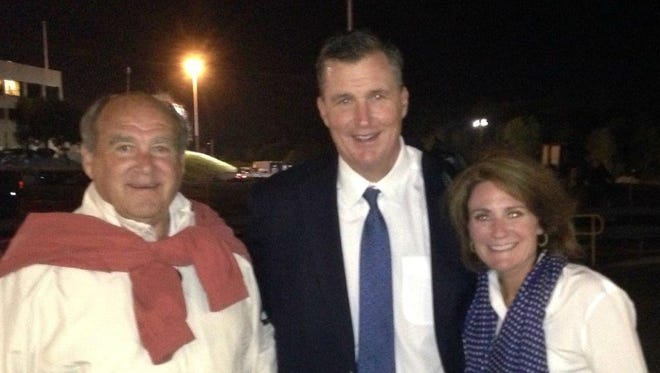 Former Middle Tennessee State football coach Boots Donnelly, left, with his son-in-law and Jacksonville Jaguars coach Doug Marrone, center, and daughter Helen, during the 2017 season.