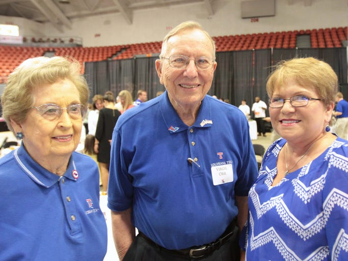 Myrtis and Virgil Orr and Freida Parker attend the Happening. Friends, fans and alumni of Louisiana Tech University gathered at the Monroe Civic Center for the event that traditionally celebrates the start of a new school year and new football season.
