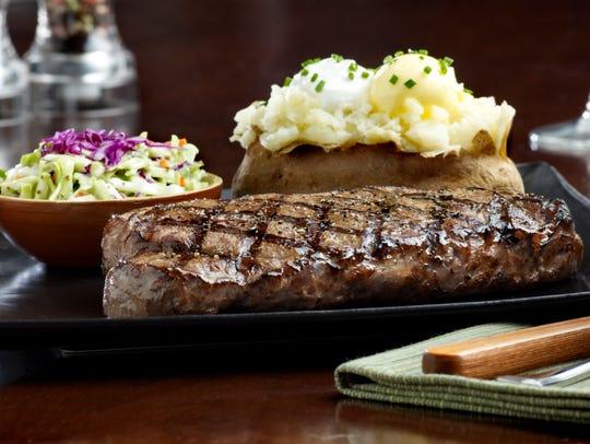New York steak and baked potato at Tony Roma's.