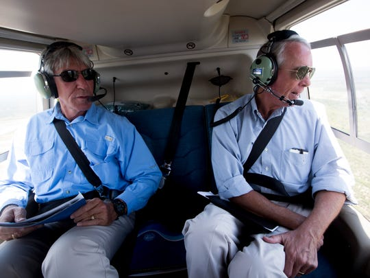 Representative Francis Rooney, right, and Paul Warner, Principal Scientist for the South Florida Water Management District, during an aerial tour of the Lake Okeechobee watershed and surrounding Everglades Restoration Project Tuesday, May 9, 2017.