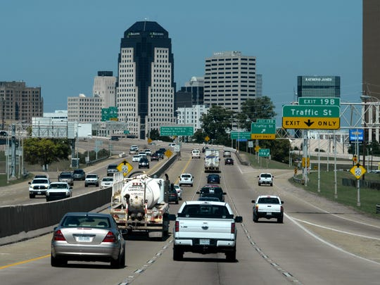 The skyline of Shreveport from I-20 in Bossier City.