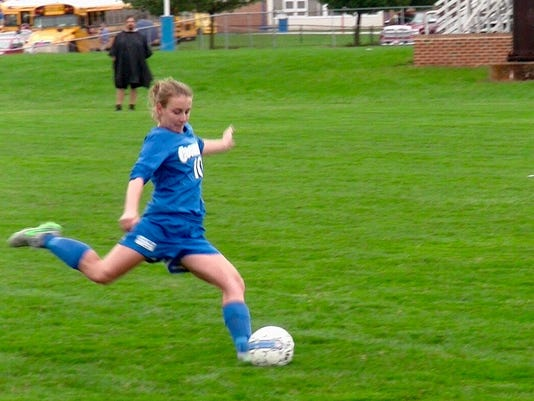 Cocalico's Lexi Palm boots the ball during the Eagles' 3-2 victory over Lampeter-Strasburg on Thursday, October 1, 2015