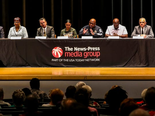 The News-Press Town Hall on the Fort Myers Police Department Report was held at Dunbar High School Wednesday evening. City members were invited to ask questions as well as a panel of city officials and member leaders. Randy Henderson, Fort Myers Mayor; Angela McClary, Fort Myers resident; Saeed Kazemi, City Manager; Angel Escobar, senior at Dunbar High School; Derrick Diggs, Fort Myers Police Chief; Dr. William Glover, Senior Pastor of Mount Hermon Ministries, Inc.; Robert O'Neill, author of the Freeh report. His team interviewed over 200 individuals for the report.; Abdul'Haq Muhammed, Quality Life Center director.