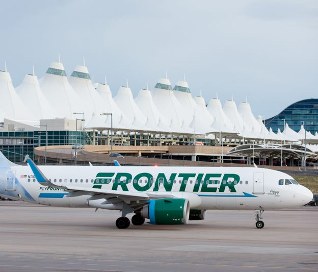A Frontier Airlines Airbus A320neo taxies out from Denver International Airport in May 2017.