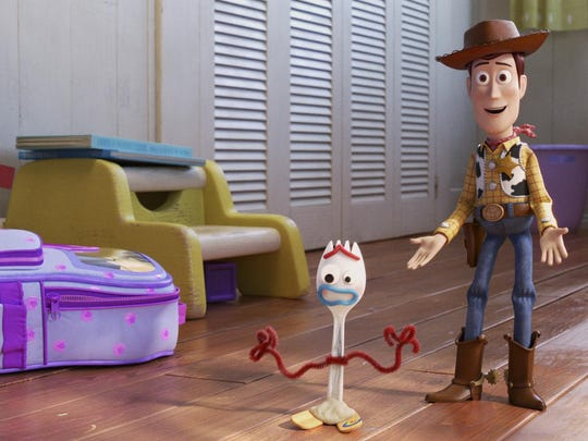 "Tony Hale and Tom Hanks as Forky and Woody in ""Toy Story 4."""