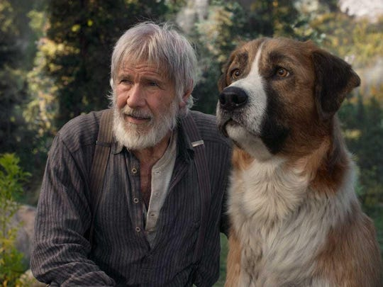 """John Thornton (Harrison Ford) makes fast friends with Buck in """"The Call of the Wild."""""""