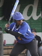 Ontario's Labriana Wallace readies herself at bat while playing at Clear Fork on Wednesday.