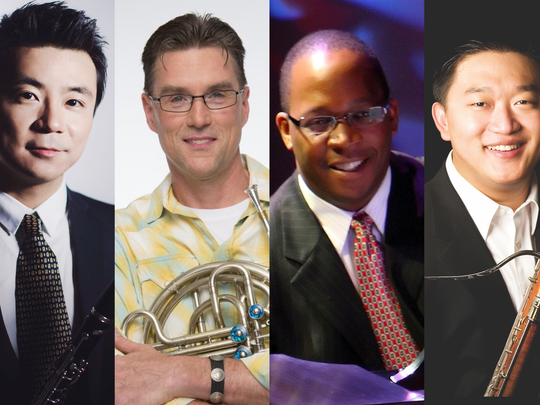 Master Players appearing in the UD Stars of Baltimore program include, from left, Yao Guang, clarinet; Phillip Munds, horn; Howard Watkins, piano; Fei Xie, bassoon; and Andrew Balio, trumpet.