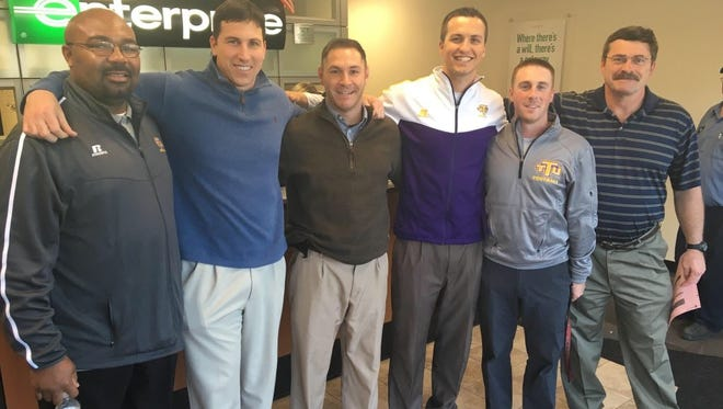Former Smoky Mountain football coach David Napert, far right, is the new offensive line coach at Tennessee Tech University.