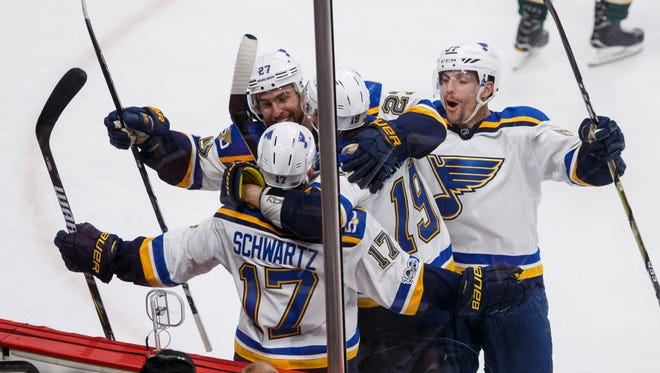 St Louis Blues forward Jaden Schwartz (17) celebrates his goal in the third period against the Minnesota Wild in Game 2.