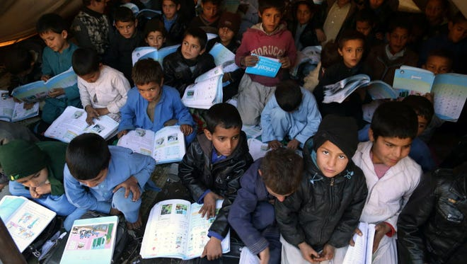 A tent school in Jalalabad, Afghanistan.