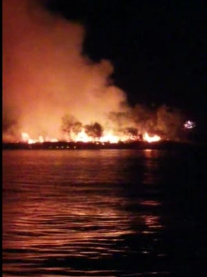 A still from a video shows the fire as it burned after the fireworks explosion Saturday night at Lake Brownwood.