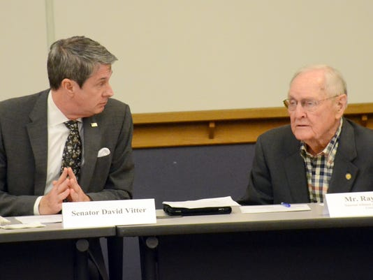 ANI Sen. David Vitter Louisiana Sen. David Vitter (left) listens as Ray Young of the National Alliance of Independent Crop Consultants, talks about the LSU AgCenter Wednesday, Feb. 18, 2015 during a forum meeting held at RoyOMartin.-Melinda Martinez/mmarti