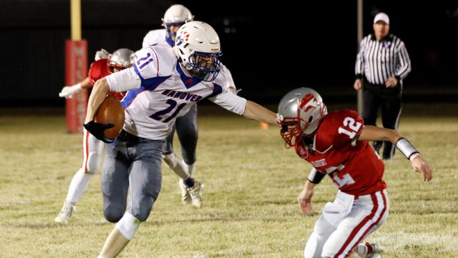 Colin Jueneman (21) and Hanover stiff-armed Frankfort in last Friday's Eight-Man Division II state semifinals to get back to the championship game for the sixth time in the last seven years. Hanover (10-0) will take on St. Francis (11-0) at 11 a.m. in Newton for the title.