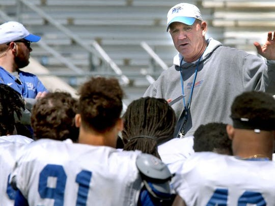 MTSU head coach Rick Stockstill talks to players leading up to the 2016 season. The Blue Raiders begin the 2017 season against Vanderbilt on Spet. 2.