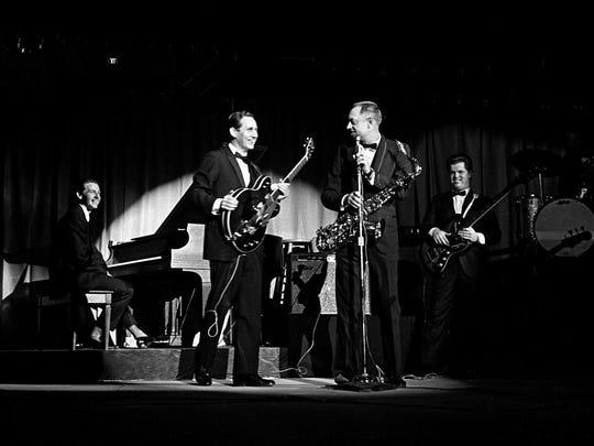Pianist Floyd Cramer, left, guitarist Chet Atkins and