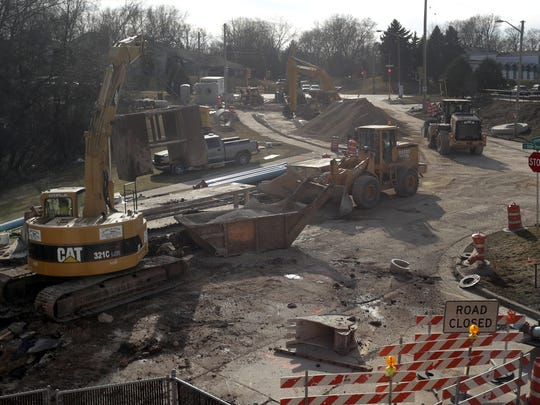 Construction is underway at the intersection of South