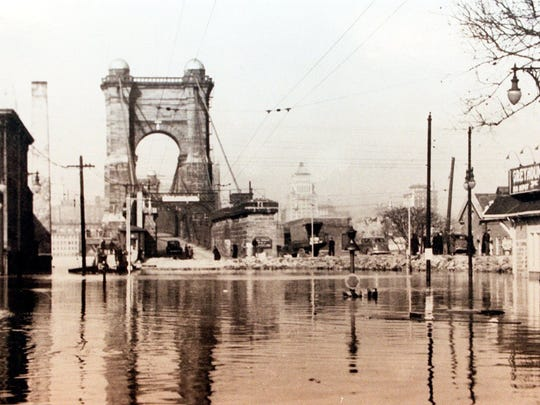 The John A. Roebling Suspension Bridge, seen here from