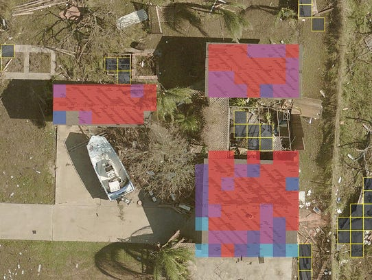 Machine-learning applied imagery from Hurricane Harvey.