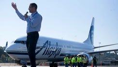 Alaska Airlines CEO Brad Tilden speaks to the crowd