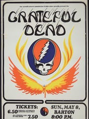 A poster advertises the Grateful Dead the May 1977 Barton Hall show at Cornell University.