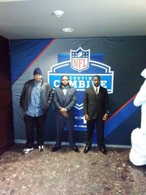 Former Jackson State football players Jaydell Roy (left), Ariane McCree and Tobias Singleton.