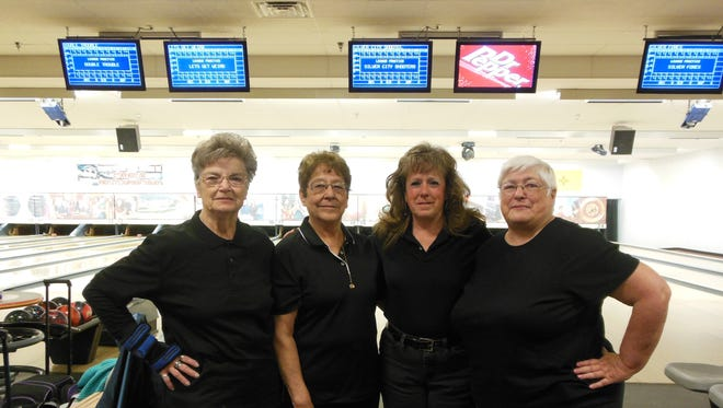 This team participated in the New Mexico Women's State Championship Bowling Tournament. They are, from left, Bobby McCall, Nancy Lucero, Sherri Jorgensen and Judith Stanfield.