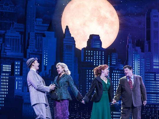 """The cast of """"The Honeymooners"""" at the Paper Mill Playhouse, from left: Michael Mastro and Laura Bell Bundy as Edward and Trixie Norton, and Leslie Kritzer, Michael McGrath as Alice and Ralph Kramden."""