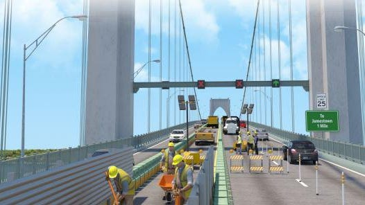 During non-rush hours, there may be one lane open in both directions on the Newport Pell Bridge, and the contractor will have access to perform work on the other two lanes.