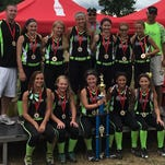 The Lady Rebels 12-under softball team won the title at the Powerade Nationals in Syracuse. Front row: Emma Loomis, Maddie Johnson, Carly Scott, Ana Milazzo, Rylee Roman, Second row: assistant coach Andy Scott, Brooke Thompson, Mallory Mowchan, Jenna Granger, head coach Joe Roman, Thailey Franklin, Kindra Wessels, Parker Moss, assistant Tilden Franklin.