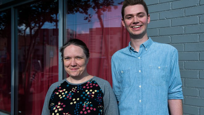 Kerrie Seymour and Drew Whitley stand outside the Warehouse Theatre in Greenville on Wednesday, June 7, 2017.