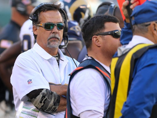 FILE - In this Sunday, Nov. 13, 2016 file photo, Los Angeles Rams head coach Jeff Fisher watches play on the sidelines during the second quarter of an NFL football game against the New York Jets in East Rutherford, N.J. If Tom Brady becomes the NFL's all-time winningest quarterback on Sunday, Dec. 4, 2016 he will do it without the guy who's been on the receiving end of most of his touchdown passes. The Patriots (9-2) will be without tight end Rob Gronkowski this week when they host the struggling Los Angeles Rams (4-7) in their final regular-season matchup with an NFC opponent.(AP Photo/Seth Wenig, File)