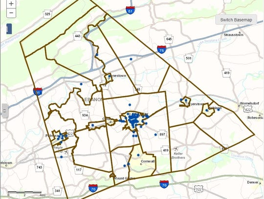 This map - developed by PennDOT's website from a compilation