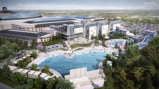 An aerial rendering of Ryman Hospitality's planned indoor-outdoor Soundwaves water park, unveiled Jan. 25, 2017, in Nashville and expected to be ready in late 2018.