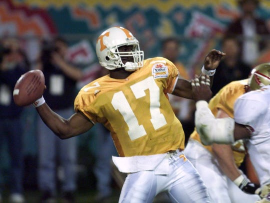 Tee Martin throws during the Fiesta Bowl. UT defeated