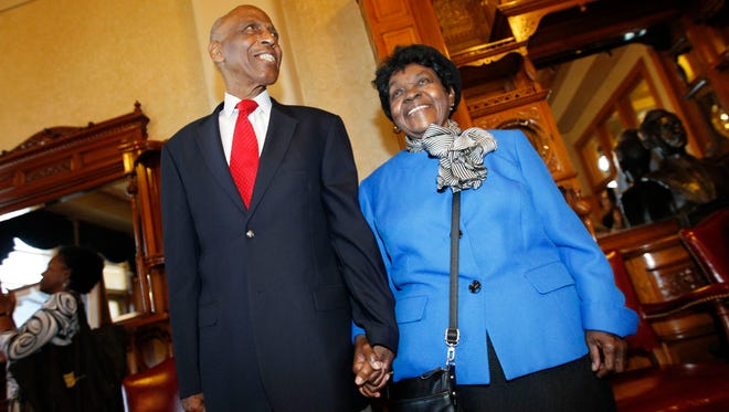 Reuben (left) and his wife Mildred Harpole wait to be introduced before receiving the Frank P. Zeidler Public Service Award at City Hall in 2013.