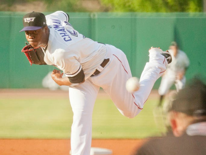 Louisville Bats starting pitcher Aroldis Chapman (on rehab from the Cincinnati Reds) gave up 5 runs in the top of the 1st inning before being pulled from the game. 06 May 2014