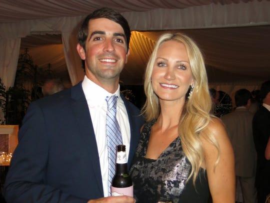 Garrett and Melissa Nesbitt at wedding reception.