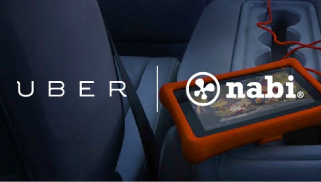 Handout image from Uber and Fuhu about their deal to equip UberFamily vehicles with Nabi tablets starting in the Washington, D.C. area.
