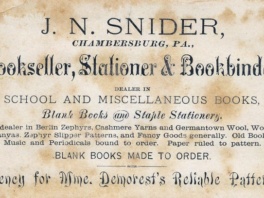 J.N. Snider Bookseller and Bookbinder's trade cards