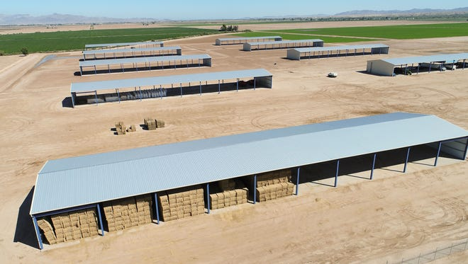 Hay is kept in open barns near Blythe. Hay from the Palo Verde Valley supplies dairies and feedlots in California and Arizona, and is also shipped overseas to Asia and the Middle East.