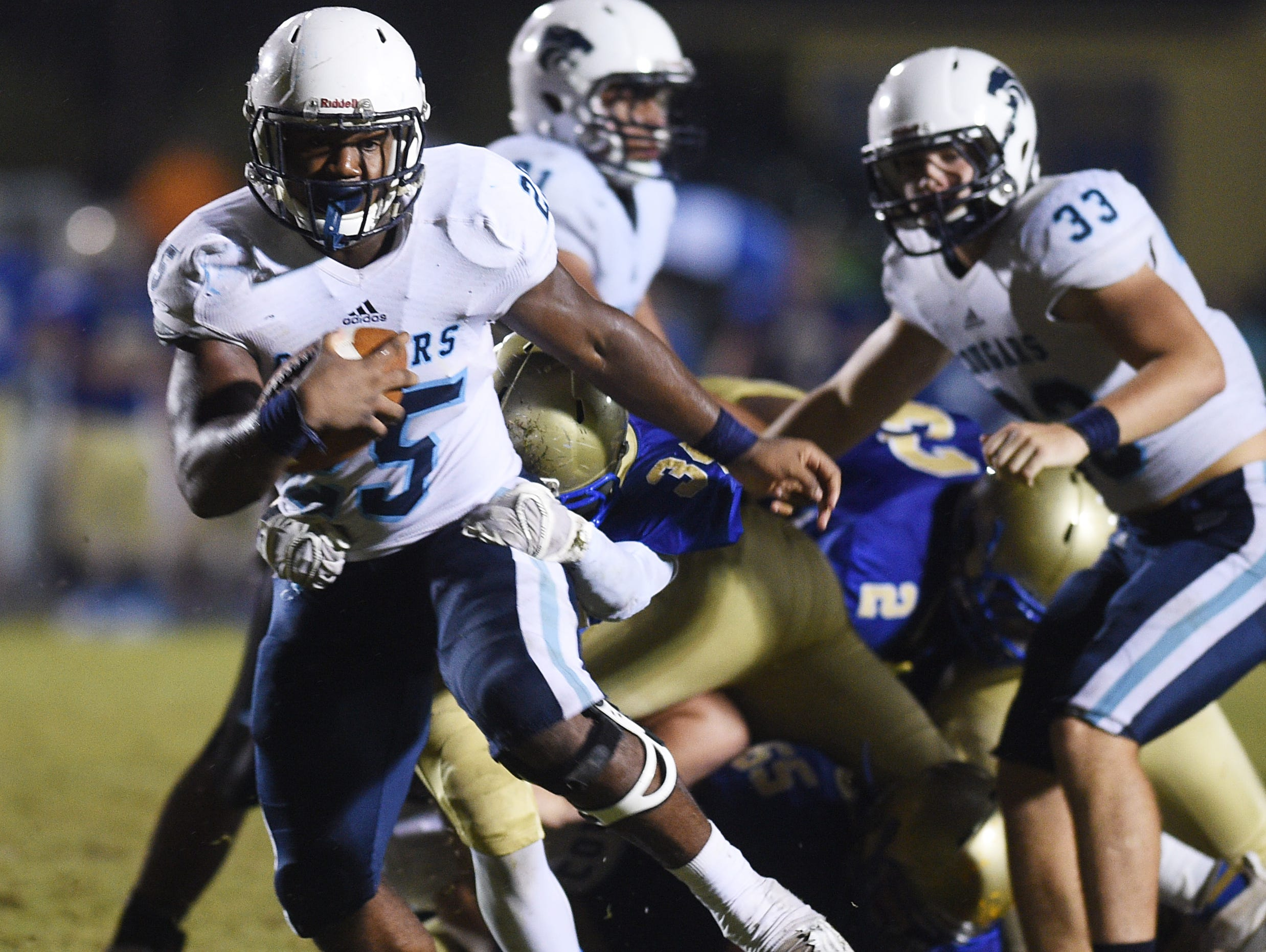 Centennial running back Tyrel Dodson (25) has ran for 428 yards and 10 touchdowns this season.