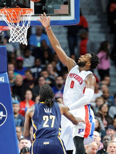 Detroit Pistons' Andre Drummond scores over the Indiana