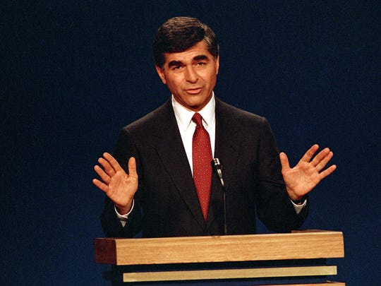 Michael Dukakis answers questions during the second presidential debate in Los Angeles on Oct. 13, 1988.