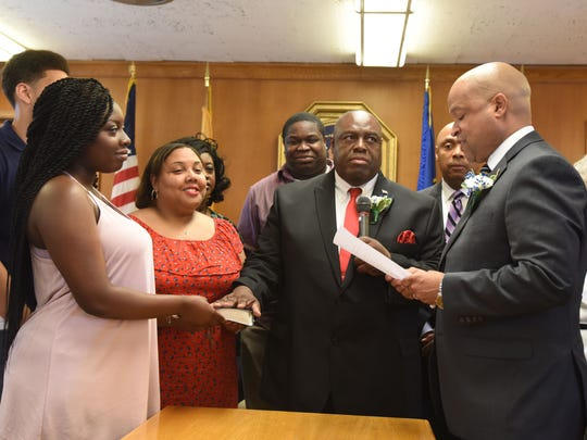 Councilman David Sims  sworn in at the  reorganization Meeting of the City Council of the City of Hackensack.
