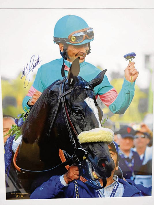 Zenyatta: A stunning 20X24 head shot of Zenyatta and autographed by New Mexico's most famous rider, Mike Smith, will also be one of the silent auction items.
